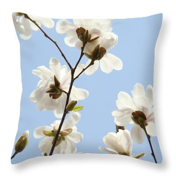 Magnolia Flowers White Magnolia Tree Flowers Art Spring Baslee Troutman Throw Pillow by Baslee Troutman