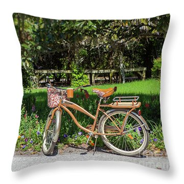 Throw Pillow featuring the photograph Magnolia Gardens Bicycle by Heather Green