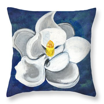 Throw Pillow featuring the painting Magnolia by John Keaton