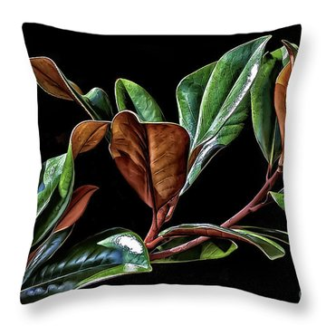 Magnolia Leaves Throw Pillow