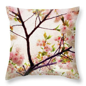 Throw Pillow featuring the photograph Asian Cherry Blossoms by Jessica Jenney