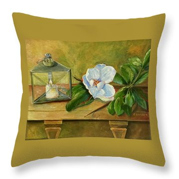 Magnolia On Mantel  Throw Pillow