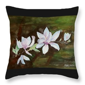 Magnolia - Painting  Throw Pillow