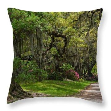 Magnolia Plantation And Gardens Throw Pillow by Kathy Baccari