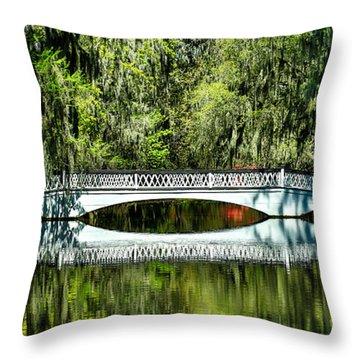 Magnolia Plantation Bridge - Charleston Sc Throw Pillow