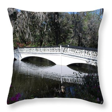 Magnolia Plantation Bridge Throw Pillow by Gordon Mooneyhan