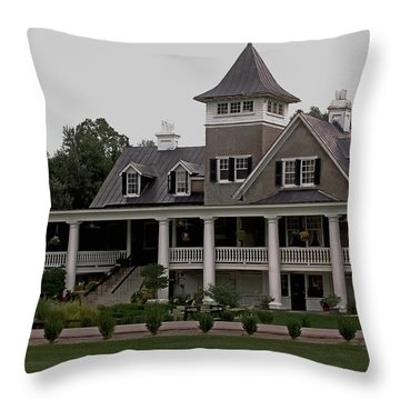 Magnolia Plantation Home Throw Pillow by DigiArt Diaries by Vicky B Fuller