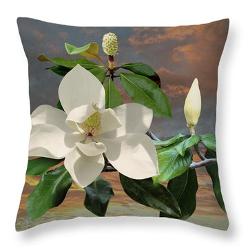 Magnolia Sunset Throw Pillow