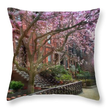 Throw Pillow featuring the photograph Magnolia Trees In Spring - Back Bay Boston by Joann Vitali
