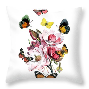Magnolia With Butterflies Throw Pillow