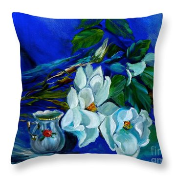 Magnolias And Cream Throw Pillow