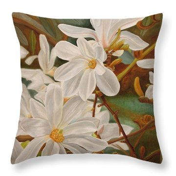 Throw Pillow featuring the painting Magnolias by Angeles M Pomata