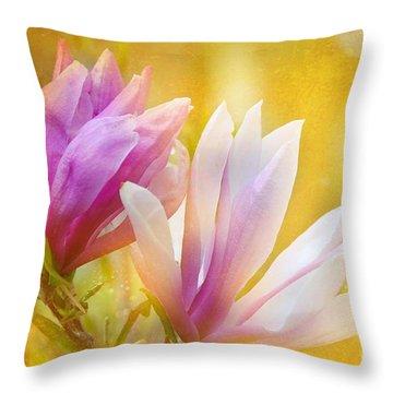 Magnolias Throw Pillow by Elaine Manley