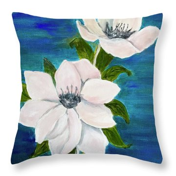 Magnolias Throw Pillow