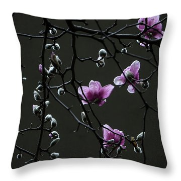 Magnolias In Rain Throw Pillow by Rob Amend