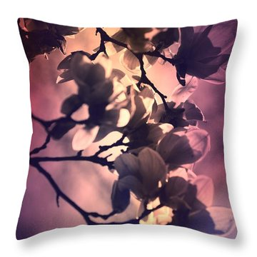 Throw Pillow featuring the pyrography Magnolias by Karen Kersey