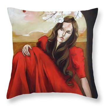 Magnolia's Red Dress Throw Pillow