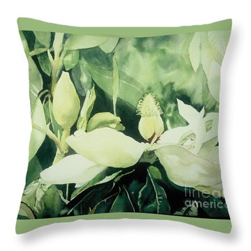 Magnolium Opus Throw Pillow by Elizabeth Carr