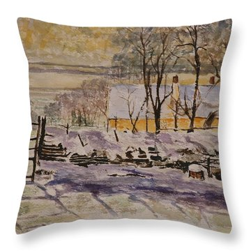 Magpie After Claude Monet Throw Pillow by Betty-Anne McDonald