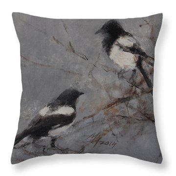 Magpies Throw Pillow