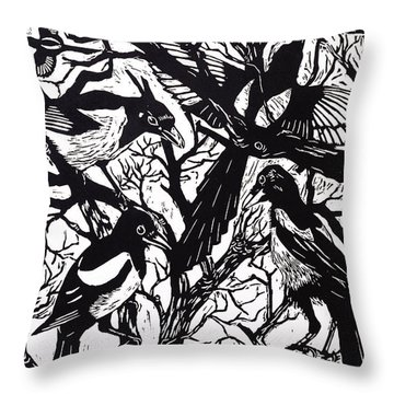 Magpies Throw Pillow by Nat Morley