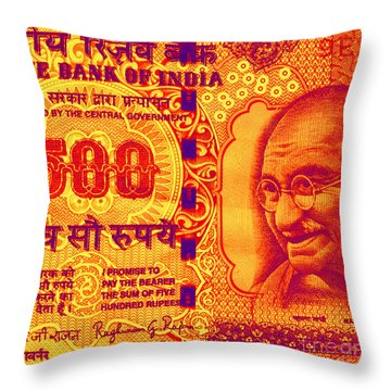 Throw Pillow featuring the digital art Mahatma Gandhi 500 Rupees Banknote by Jean luc Comperat