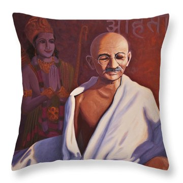 Mahatma Gandhi Throw Pillow by Steve Simon
