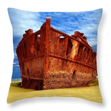 Maheno Shipwreck Fraser Island Queensland Australia Throw Pillow