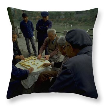 Mahjong In Guangzhou Throw Pillow
