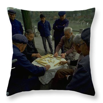 Throw Pillow featuring the photograph Mahjong In Guangzhou by Travel Pics