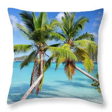 Throw Pillow featuring the photograph Maho Bay Palms by Adam Romanowicz