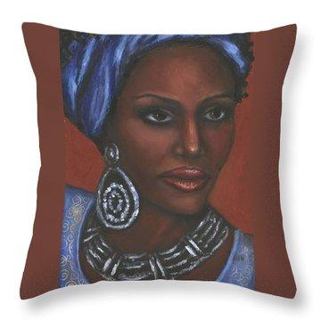 Throw Pillow featuring the painting Mahogany by Alga Washington