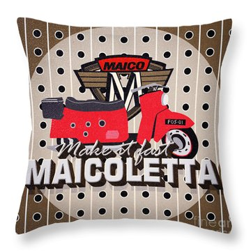 Maicoletta Scooter Advertising Throw Pillow