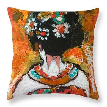 Maiko In Orange  Throw Pillow