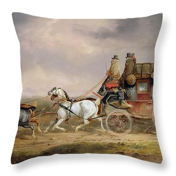 Mail Coaches On The Road - The Louth-london Royal Mail Progressing At Speed Throw Pillow by Charles Cooper Henderson