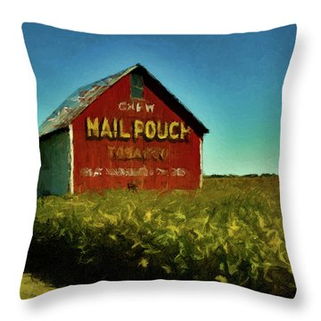 Mail Pouch Barn P D P Throw Pillow by David Dehner
