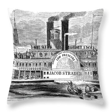 Mail Steamboat, 1854. /nthe Louisville Mail Company Steamboat Jacob Strader. Wood Engraving, 1854 Throw Pillow by Granger