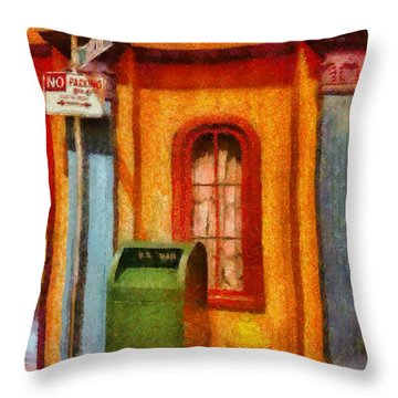 Mailman - No Parking Throw Pillow by Mike Savad
