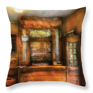 Mailman - The Post Office Throw Pillow by Mike Savad