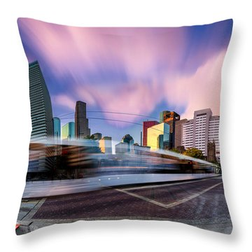 Main And Bell St Downtown Houston Texas Throw Pillow by Micah Goff