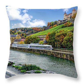 Main River Panorama Throw Pillow