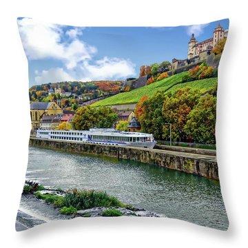 Main River Panorama Throw Pillow