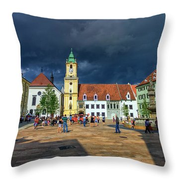 Main Square In The Old Town Of Bratislava, Slovakia Throw Pillow