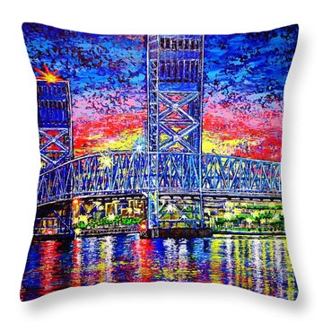 Throw Pillow featuring the painting Main St. Bridge by Viktor Lazarev