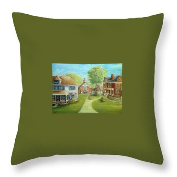 Throw Pillow featuring the painting Main Street In The Summer  by Bernadette Krupa