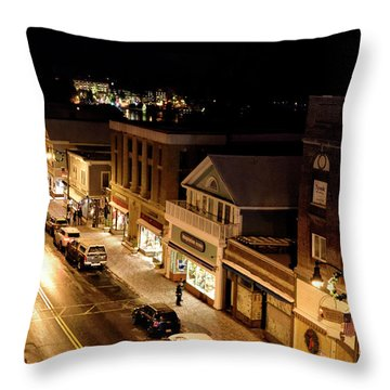 Throw Pillow featuring the photograph Main Street - Lake Placid New York by Brendan Reals