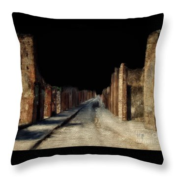 Throw Pillow featuring the digital art Main Street, Pompeii by Lois Bryan
