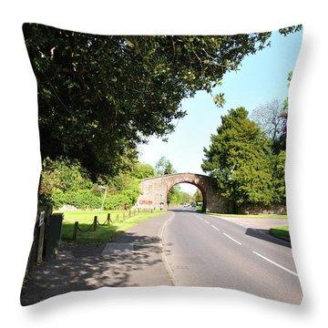 Main Street Ticknall And The Tramway Bridge Throw Pillow by Rod Johnson