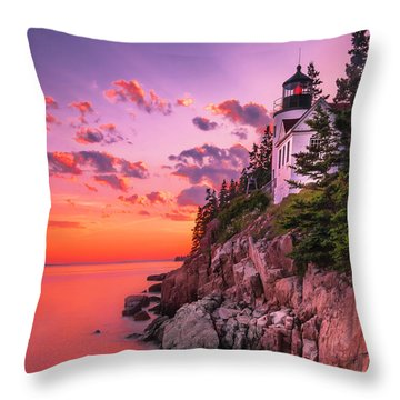 Throw Pillow featuring the photograph Maine Bass Harbor Lighthouse Sunset by Ranjay Mitra