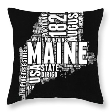 Maine Black And White Map Throw Pillow
